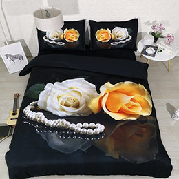 rose print bedding Australia - Floral Soft Black Bedding Set Blossom Comforter Quilt Cover Garden Flower Duvet Cover Butterfly Bedspread Women Girls Colorful Rose Bed Cove