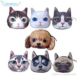 Cat Face Coin Australia - Mixed styles new cat coin purse ladies 3D printing animal big face bags fashion cartoon zipper bags for children