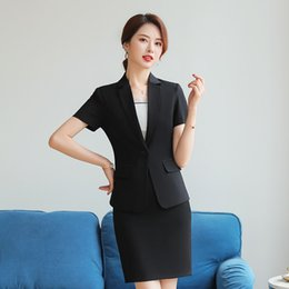 $enCountryForm.capitalKeyWord Australia - Summer Fashion Women Blazer Office Lady Elegant Short Sleeve Suit Tops Casual Career Business Beauty Uniform (Jacket + Skirt)