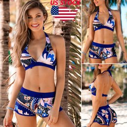 $enCountryForm.capitalKeyWord NZ - Swimwear-women Summer Bikini Swimsuit Ladies Dark Blue Floral Print Push-up Padded Bra Bandage Swimwear Bathing Suit