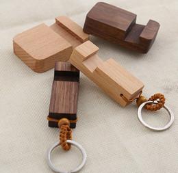 Men Wood Chains Australia - 2019 fashion new men and women creative cute wooden phone bracket key chain solid wood convenient keychain