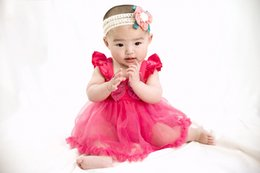 Tutus Australia - Ins hot Tollders Cute Ruffles Summere Dress With Big Blingblilng Bowknot Tutu Dress Solid Color Flying Suspender Sweet Baby Dress