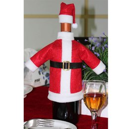 wholesale red hat clothing NZ - Christmas Decoration For Home Red Wine Bottle Covers Clothes With Hats Party Christmas Dinner Table Decoration