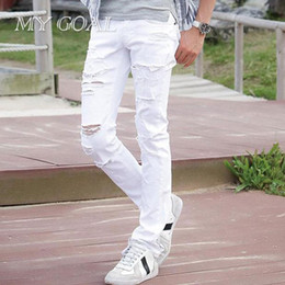 442e34e3333 Relaxed Fit Pants NZ - New White Ripped pants Men With Holes Super Skinny  Famous Designer