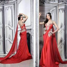 Indian Formal Evening Dress Australia - Red Dubai Noble Evening Dresses With Appliques Arabic Indian Flowy Chiffon Formal Prom Dresses with Ribbon Sexy Backless Evening Gown 2019