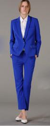 Female Office Suits Australia - Custom made blue women business suits 2 piece set women tuxedo female trouser suit ladies office uniform elegant pant suit