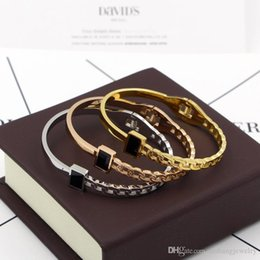 Black Blocks Australia - PB68 fashion imitation chain style black block Spring opening gold plate bangle for gift free shipping