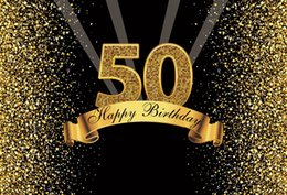 Dot photography backDrop online shopping - Happy Gold Happy th Birthday Party Dots Sequins Banner Poster Photography Backdrops Photo Backgrounds Photocall Photo Studio