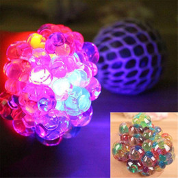 $enCountryForm.capitalKeyWord Australia - Flashing lights Colorful Beads Mesh Ball Stress LED Glowing Squeeze Grape Toys Anxiety Relief Stress Ball kids toy