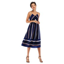 700696b345 2019 new Women Midi Dresses Striped Chiffon Spaghetti Strap mid-length Slip  Dress Sundress skirt Casual Fashion Dresses 4 colors