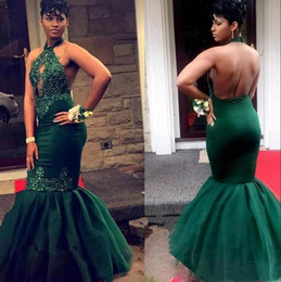 Royal Keys NZ - Key Hole Lace Mermaid Prom Dresses 2019 Sexy Halter Dark Green Tulle Lace Applique Beaded Backless Floor Length Formal Party Evening Gowns