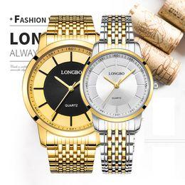 Men Women Couple Watches Australia - Longbo Relogio Luxury Couple Watches Men Women Quartz Wrist Watch Stainless Steel Band Waterproof Clock Lovers 80281