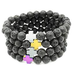 Fashion christian bracelet online shopping - 2019 Men and Women Fashion Bracelet Natural Volcanic Stone Multicolor Cross Christian Energy New Trend Jewelry
