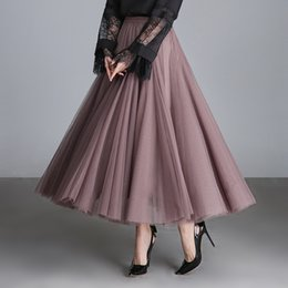 8e81d41ffdb Long Plus Size Tutu Skirts NZ - Women Pleated Skirt Elastic High Waist Maxi Tulle  Skirt