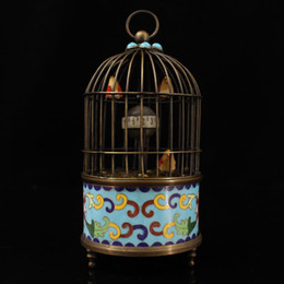 brass birds NZ - Rare Chinese old brass Hand carved Inlaid turquoise cloisonne bird cage clock statue