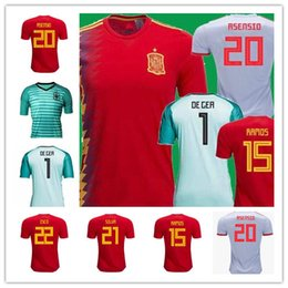 iniesta soccer jersey Australia - 2018 New Spain world cup jersey INIESTA RAMOS home red Asensio COSTA SILVA ISCO top quality spain football shirts soccer jerseys 2019