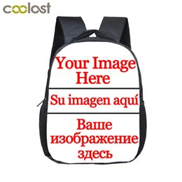 Wholesale boy cartoon images online – design 12 inch Customize Your Logo Name Image Toddlers Backpack Cartoon Children School Bags Baby Kindergarten Backpack Kids Gift Bags LY191224