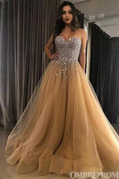 crystal champagne Australia - Sparkling Champagne Tulle A-Line Crystal Prom Dresses 2019 Sweetheart Neck Lace-up Back Beaded Rhinestones Formal Gowns Evening Dresses