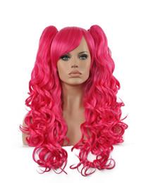 $enCountryForm.capitalKeyWord UK - Beauty Women Long Rose Red Double Ponytail Wavy Hair Oblique Bangs Kanekalon Heat Resistant Cosplay Party Hair Full Wig Wig