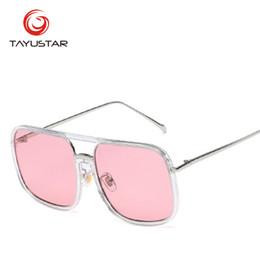 Glasses Brand Names Australia - TIIYUSTAR 2019 brand name sunglasses fashionable big square Sun glass girl's pink mirror UV400 7764