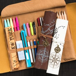 2019 Latest Design New Hot Vintage Treasure Map Pencil Case Roll Faux Leather Pen Bag Makeup Brush Pouch Sale Stationery Holder Desk Accessories & Organizer Office & School Supplies
