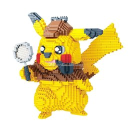 plastic building bricks figures 2019 - Detective Pikachu Small particles building blocks toys Pocket monster Bricks action figures Blocks toy for children birt