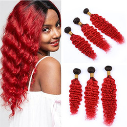 $enCountryForm.capitalKeyWord Australia - Deep Wave Curly Ombre Red Virgin Hair Weave Bundles Two Tone 1B Red Ombre Peruvian Human Hair Wefts Extensions 300g Lot