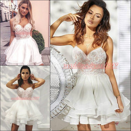 Beautiful lace cocktail dresses online shopping - Beautiful Spaghetti Chiffon Short Homecoming Dresses Sleeveless Lace A Line Tiered Arabic Prom Dress Cocktail Party Juniors Club Wear