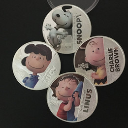 Coins Sets Australia - The peanuts movie Hollywood cartoon Snoopy Lucy Linus Charlie Brown anime silver plated souvenir coin set.4pcs set