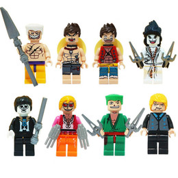 one piece mini figures UK - Educational Japan Anime Cartoon One Piece Luffy Sanji Ace Zoro Brook Edward Newgate Caeser Doflamingo Joker Mini Toy Figure Building Block