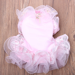 coloured tutus Australia - Small Dog Cat Luxurious Wedding Dress Tutu Roses Design Cat Puppy Skirt Dresses Outfit Party Apparel 5 Sizes 2 Colours