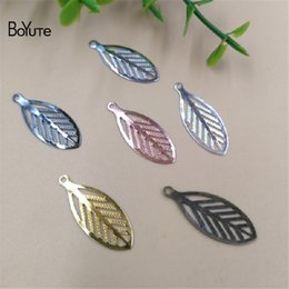 $enCountryForm.capitalKeyWord Australia - BoYuTe Wholesale (200 Pieces Lot) Metal Brass 23*9MM Filigree Leaf Charm Diy Jewelry Accessories Parts Charms