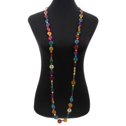 $enCountryForm.capitalKeyWord UK - Ethnic Wholesale Long Coconut Shell Necklace Multicolor Wood Round Beaded Strand Handmade Knitted Bohemian Jewelry for Women