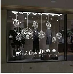 Christmas Bell Stickers Australia - Christmas Wall Sticker Home Decor Store Window Decoration Hanging Jingle Bell Snowflake Reindeer papel de parede