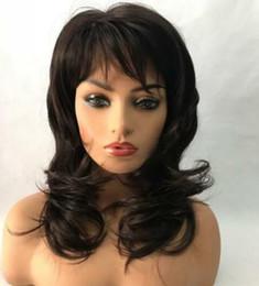 Human Hair Wig Beautiful UK - 100% Real Hair Beautiful Sexy Dark brown Wavy Wig For Women Human Hair New