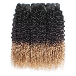 $enCountryForm.capitalKeyWord UK - T1B 4 27 Jerry curly hair bundles remy Indian Brazilian Peruvian human hair extension 3 tone curly hair