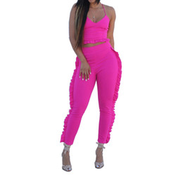 $enCountryForm.capitalKeyWord UK - Summer Women's Tracksuit Two Piece Sets Sleeveless Ruffle Top And Pants Ladies Streetwear Leisure Suit Sexy Outfits Women Set
