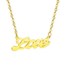 "letter pendants singapore NZ - LUXUKISSKIDS Stainless Steel Word ""Love"" Pendants Necklaces Friend Gift Gold Silver Rose Gold Name Letter Neckalces Wholesale"