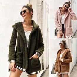 Wholesale women hooded sweater coat online – oversize Women Cardigan Sweaters Coats Autumn Winter Warm Hooded Outwear Stripe Pocket Warm Winter Fashion Cardigan Tops