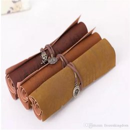 Stationery Bag Leather Australia - Antique nautical treasure map Stationery wholesale Gift fashion roll pencil case Big capacity pencil bag Soft leather Pen boxes Sold by Chap