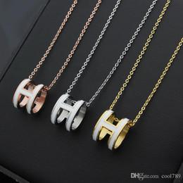Venta al por mayor de Collar de serpiente colgante de acero de titanio de marca 316L con esmalte en forma de H en muchos colores 48 cm de longitud joyería de alta calidad envío gratis
