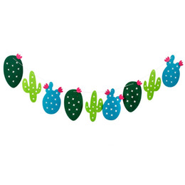 fabric bunting wholesaler UK - Promotion! 1 set Non-woven Fabric Cactus Garland Banner Flag Bunting Garland Party Favors Home Decoration Birthday Party Event S