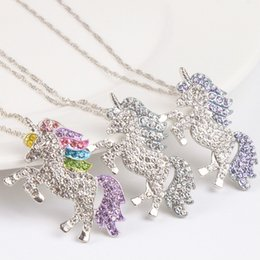 China kids and women necklace colorful unicorn diamond pendant necklace children sweater chain jewellery accessories free shipping cheap mixed pendants suppliers