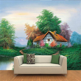 Wholesale country roads resale online - custom size d photo wallpaper room mural European country road house oil painting picture sofa TV backdrop wallpaper non woven wall sticker
