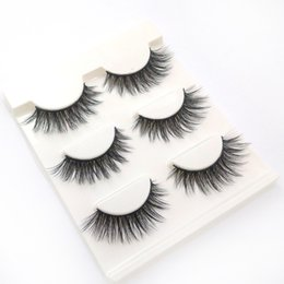 Fiber Pairs Australia - Europe and the United States hot 3D-15 manual 3 pairs of natural fiber long false eyelashes nude makeup eyelashes wholesale