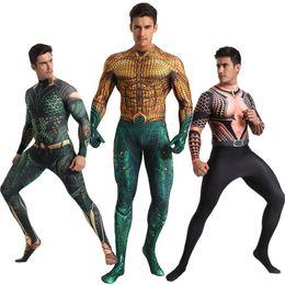 Carnival Suits Kids Australia - Aquaman Costume Cosplay Zentai Suit Superhero Costume