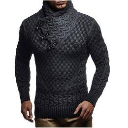 Wholesale men s black turtleneck sweater for sale – oversize Men Sweaters Hot Warm Hedging Turtleneck Pullover Sweater Male Casual Knitwear Slim Winter Sweater Men Brand Clothing