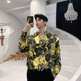 Wholesale best dress patterns resale online - 2019 Best Spring Fashion Clothes Lead Pullover Pattern Man Long Sleeve Shirt streetwear Thin Cartoon Two Color Yellow New slim