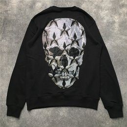 Skull Sweater jacket online shopping - 2019 Autumn winter fashion men Hoodies skull rhinestone Casual sports Long sleeve sweatshirt Sweater men s coat jacket