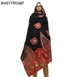 Chinese  New african scarfs muslim women big embroidery cotton scarf cotton match net embroidery scarf with stones BM602 manufacturers